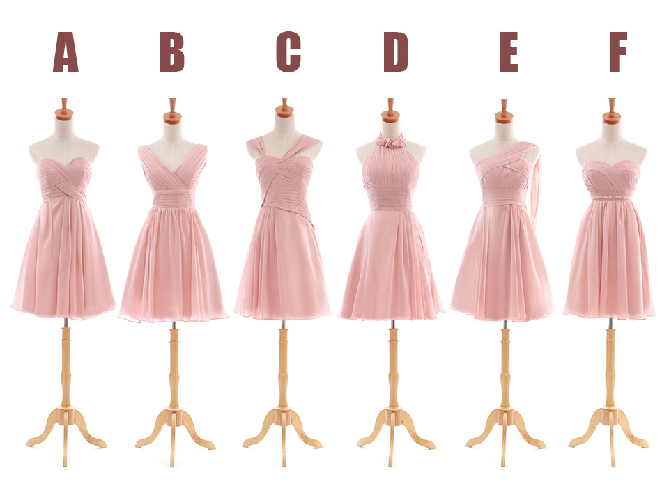 da5c86ddbd1c Short Pink Bridesmaid Dress