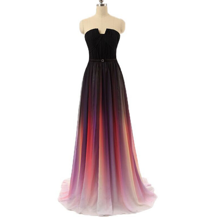 a5272c0c0e1d2 Vestidos New Ombre Chiffon Sexy Backless Prom Dress 2016 Evening Dress  Strapless Pleats Women Dress Lily Collins Robe De Soiree Longue