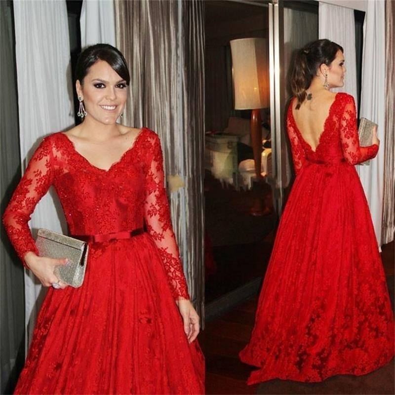 Plus Size Long Sleeve Red Dress