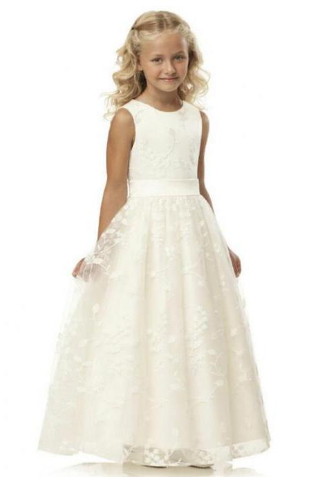 Ivory Flower Girl Dress, 2015 Lace Kids Dress, Formal Kids Wear. Cheap Wedding Party Dress, A Line Children Dress, Girls Pageant Dress, First Communion Dress