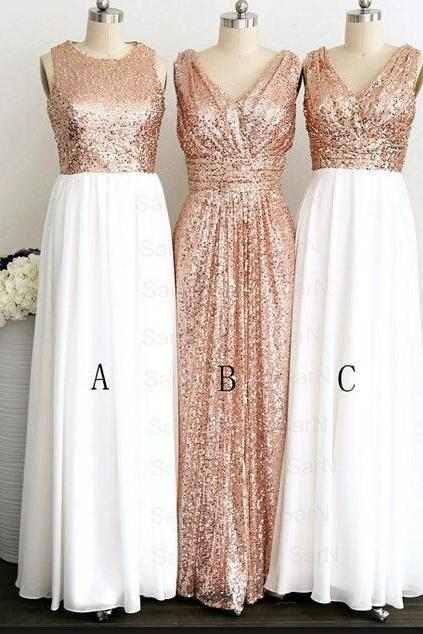 Sequins Bridesmaid Dress, Cheap Bridesmaid Dress, 2015 Wedding Party Dress, A Line Maid Of Honor Dress, Plus Size Bridesmaid Dress,