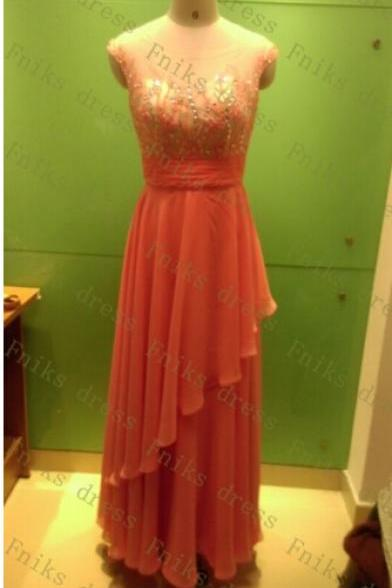 New 2016 Sexy Backless Long Elegant Coral Color Beaded Top Cheap Pageant Women Evening Dresses A Line Floor Length Gala Dress