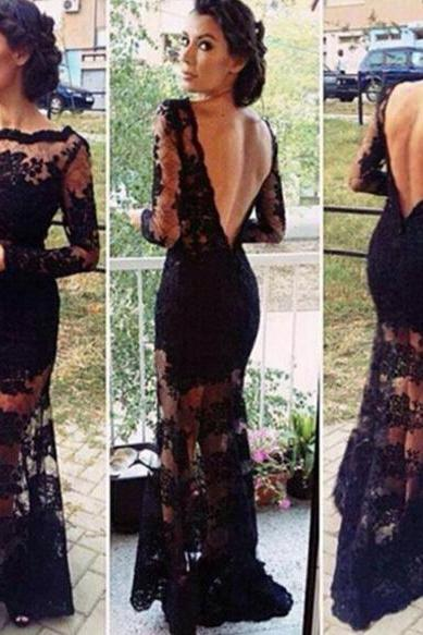 Long Sleeve Black Lace Prom Dresses 2016 Sexy Backless Mermaid Designer See Through Illusion Neckline Formal Sheer Party Dress Gowns Vestidos De Festa