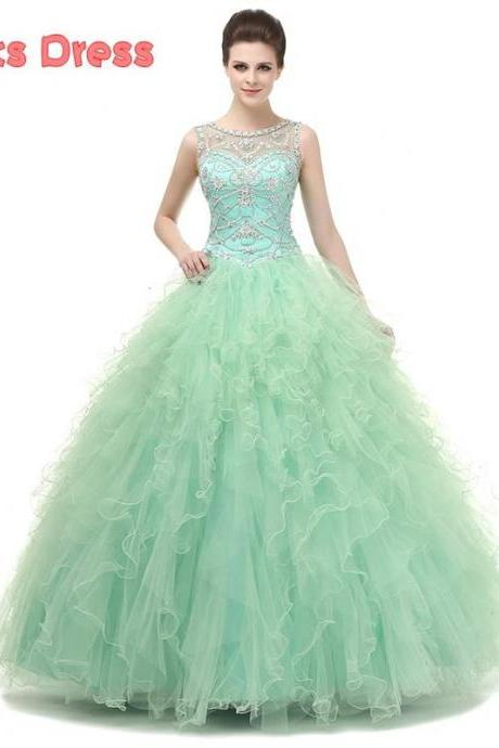 2016 Mint Green Quinceanera Dresses, Ball Gown Quinceanera Dress, Sweet 15 Year Birthday Party Dress, Cheap Quinceanera Dresses, Beaded Debutante Dress, New 2016 Cheap Masquerade Dress Gowns