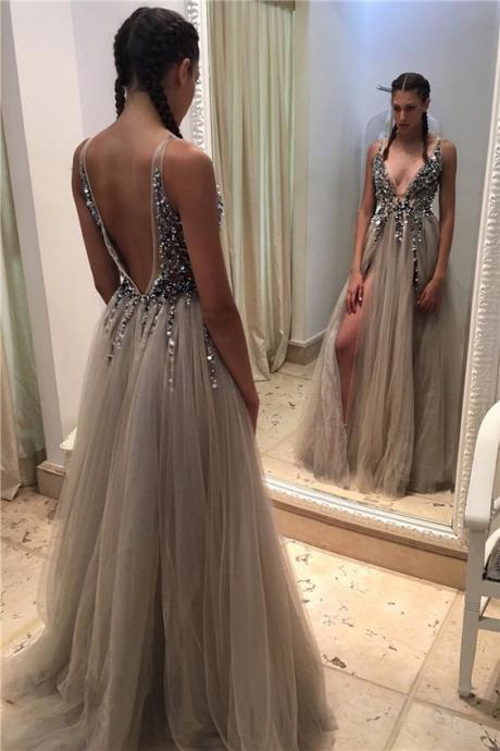 V-neck Beaded Long Prom Dress
